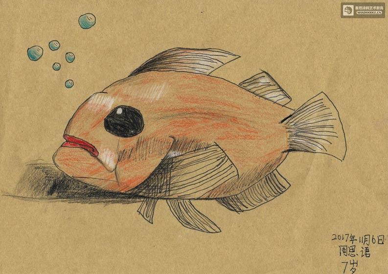 <b>儿童美术课堂习作:手绘一只威猛的深海鱼</b>