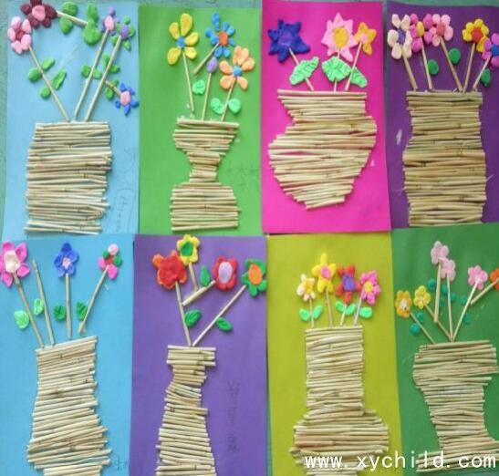 废旧材料制作玩教具:麦秸创意手工画
