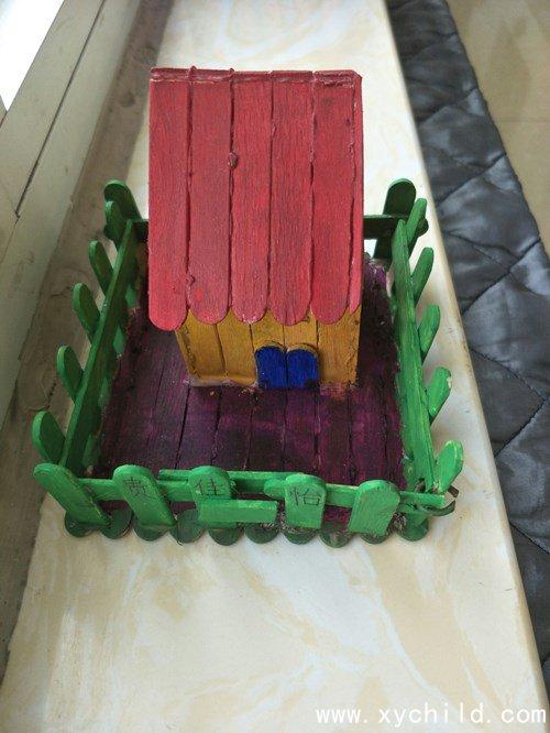 废旧材料制作:雪糕棒手工小房子