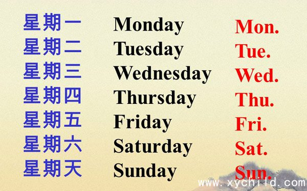星期一到星期日的英文及缩写怎么写